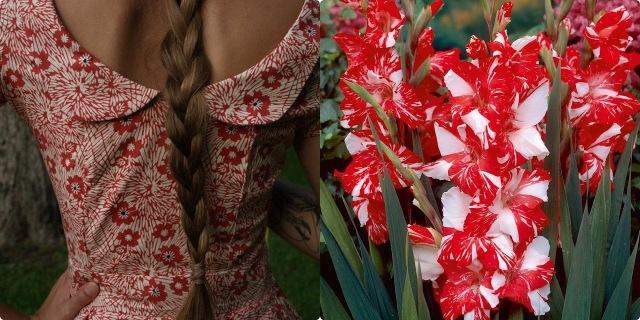 rochie rosu cu alb-tile