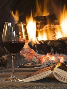 wine books and fire